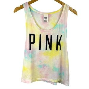 PINK Tie Dye Pastel Logo Tank Top Muscle Tee